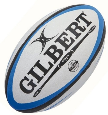 Gilbert Rugby Ball - Omega - Black/Blue Gr. 5